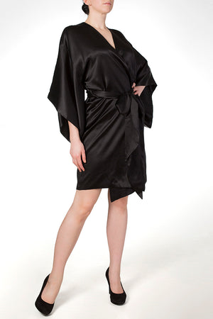 Black silk robe with wide kimono style sleeves, Cassiopeia by Harlow & Fox