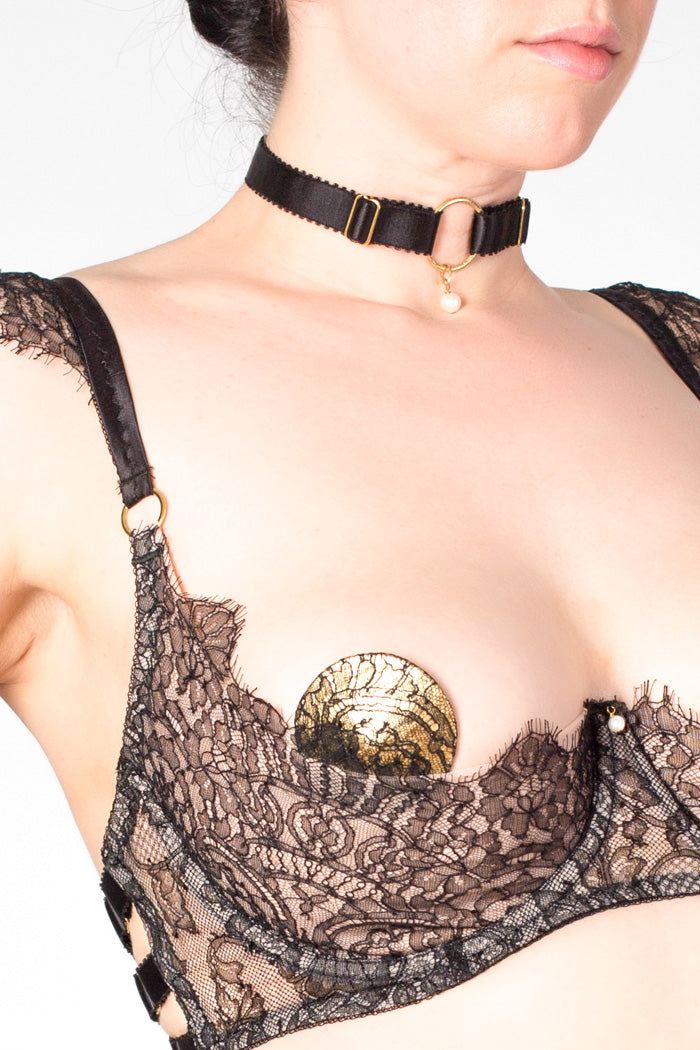 Aurora metallic gold and black lace nipple pasties, with boudoir bra