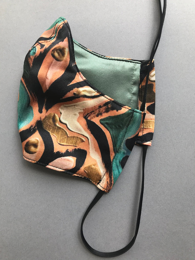 Silk lined face mask with designer print outer and luxury silk lining