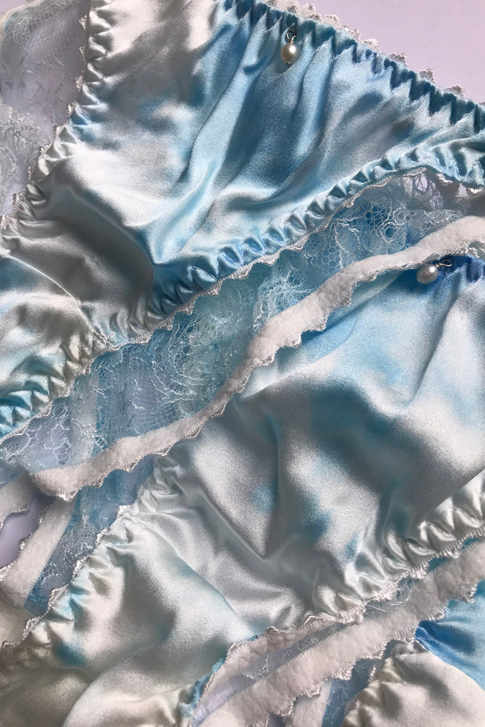 Eira luxury hand painted something blue bridal silk lingerie