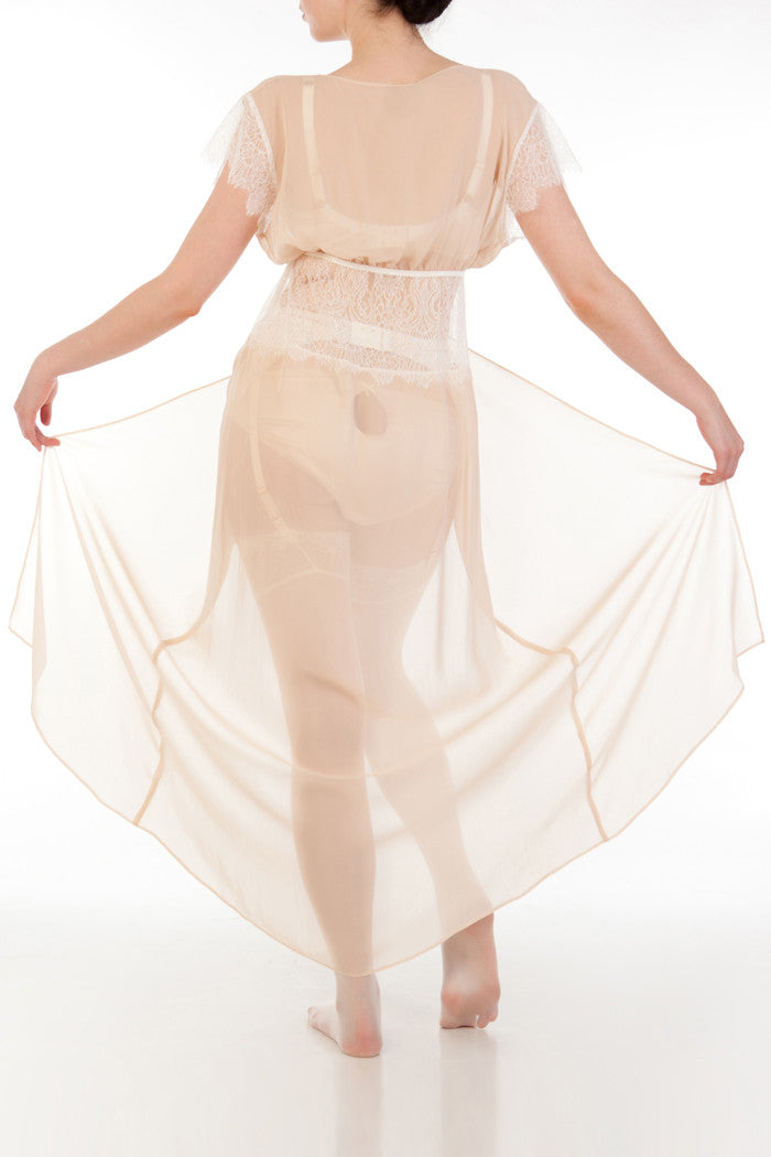 Sheer georgette robe with silk bridal lingerie