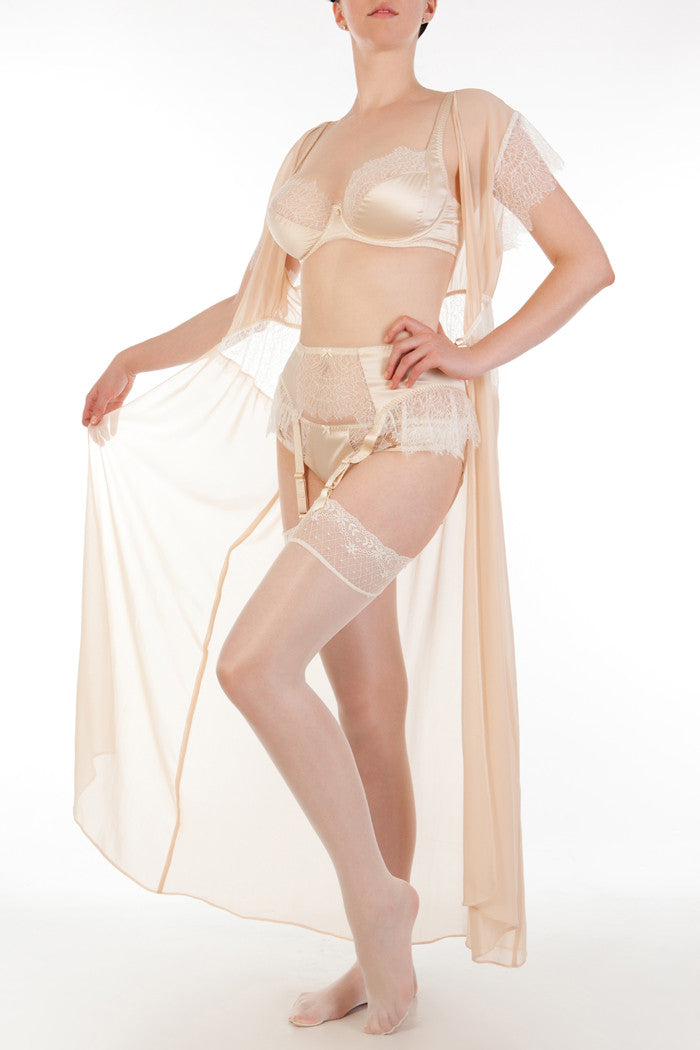 Sheer georgette and lace robe with DD+ bridal lingerie