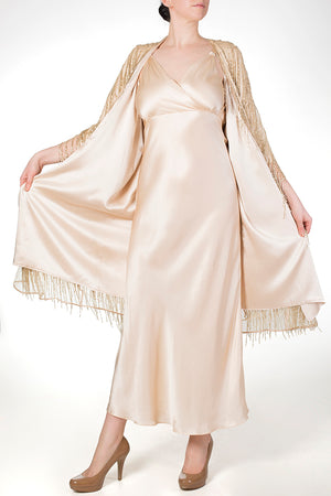 Silk lined dressing gown with matching silk nightgown and gold beaded outer robe