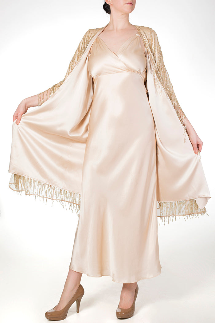 Cassiopeia Almond silk lined dressing gown with matching silk nightgown