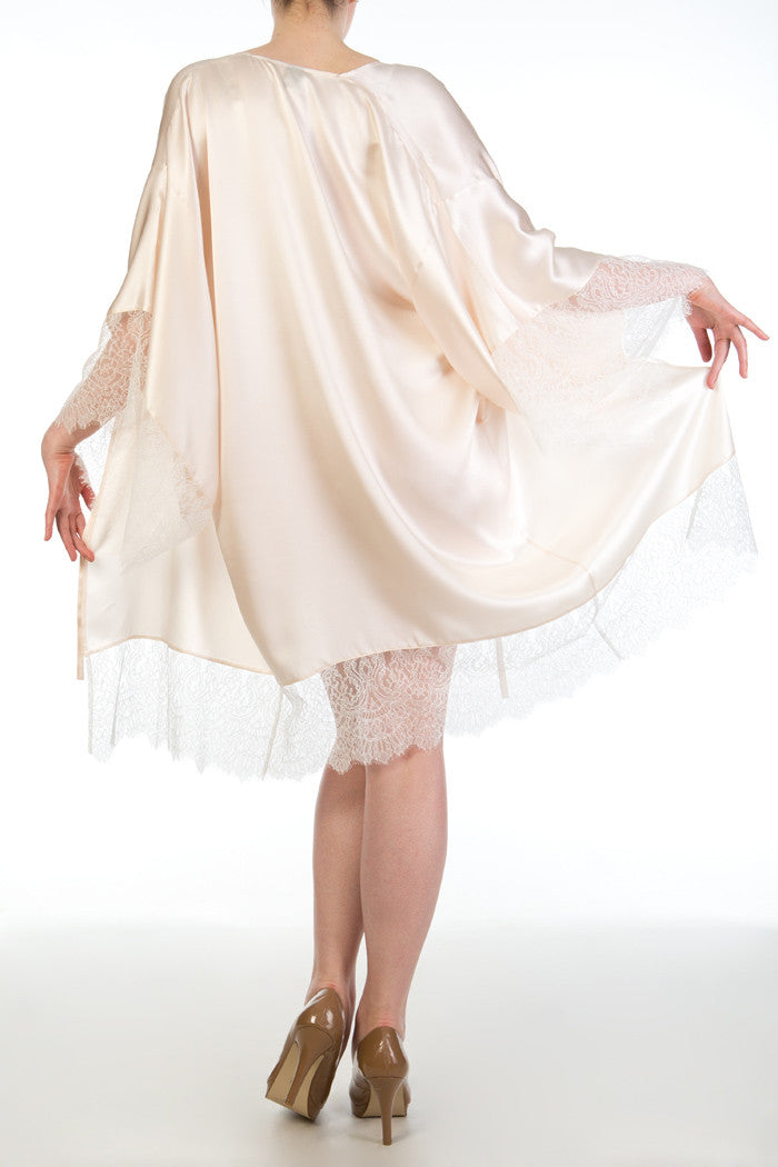 Eleanor Almond cream silk and ivory lace robe