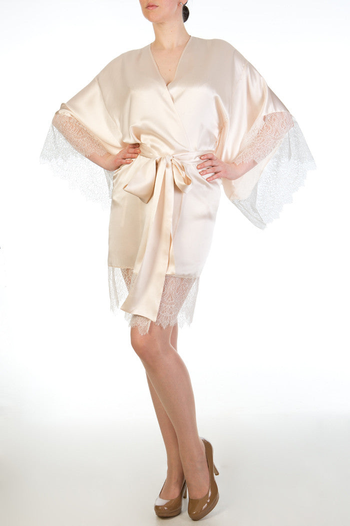 Eleanor Almond cream silk bridal robe