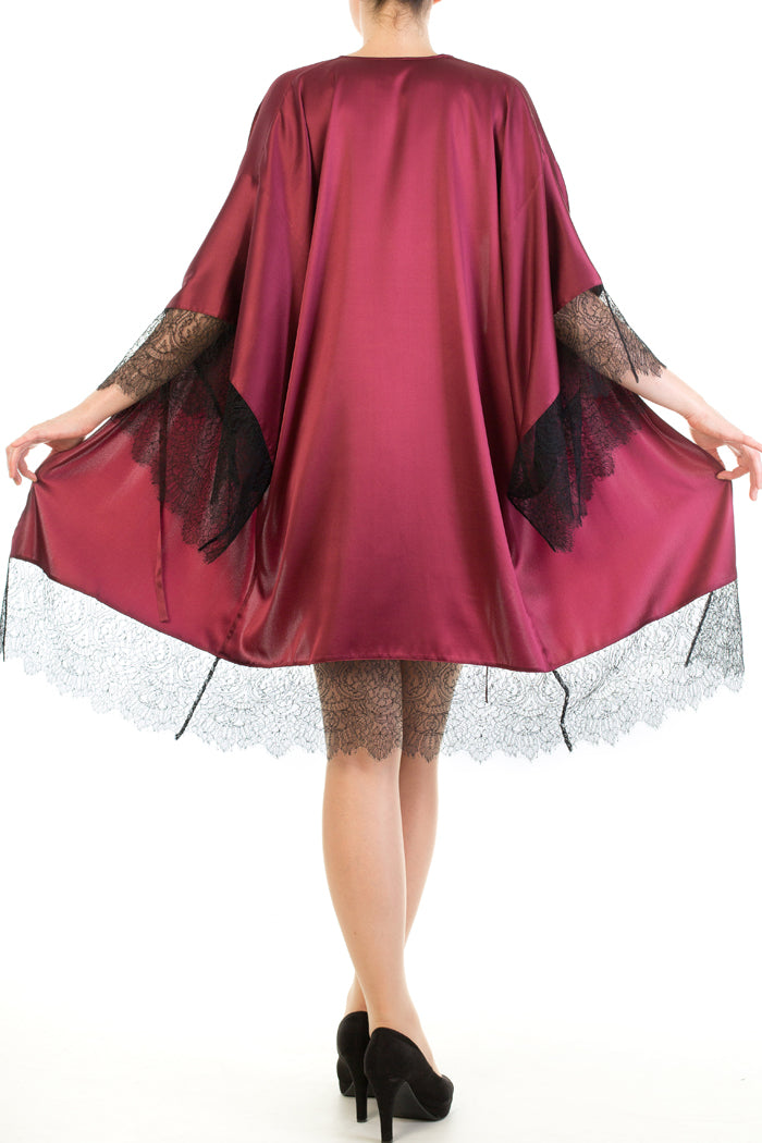 Harlow & Fox Eleanor Damson kimono with lace detail
