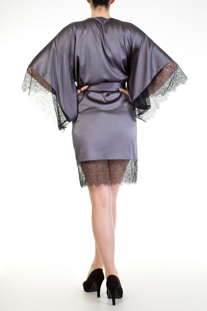 Eleanor Grey luxurious silk and lace robe