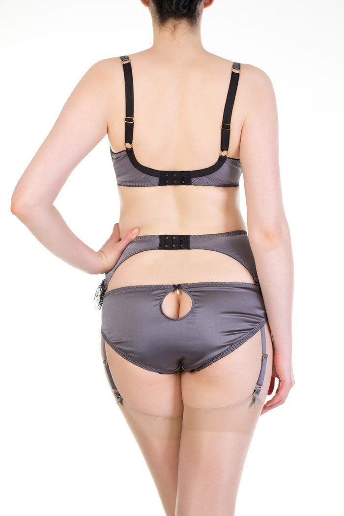 Eleanor Grey class silk lingerie with peephole