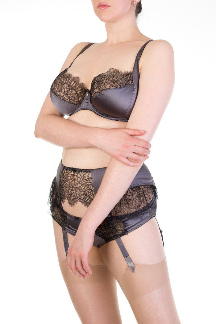 Eleanor Grey full bust lingerie with lace detail