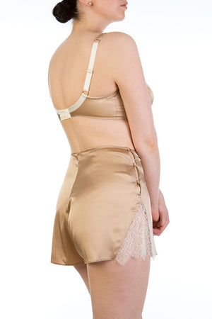 Silk tap pants in gold and ivory with matching silk bra