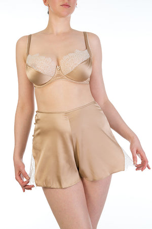 Luxury silk French knickers with vintage style high waist and matching silk bra
