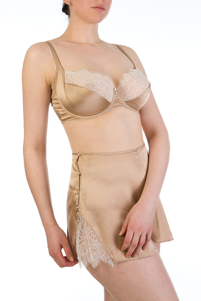 Silk French knickers and bra set in gold silk and ivory lace