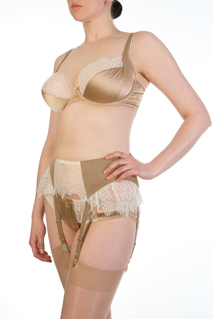 Eleanor Hazel silk lingerie and suspender belt for full bust sizes