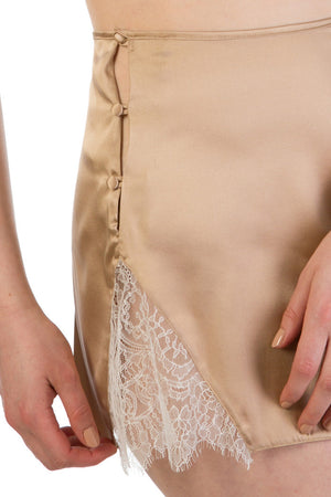 Silk tap pants with high waist button fastening