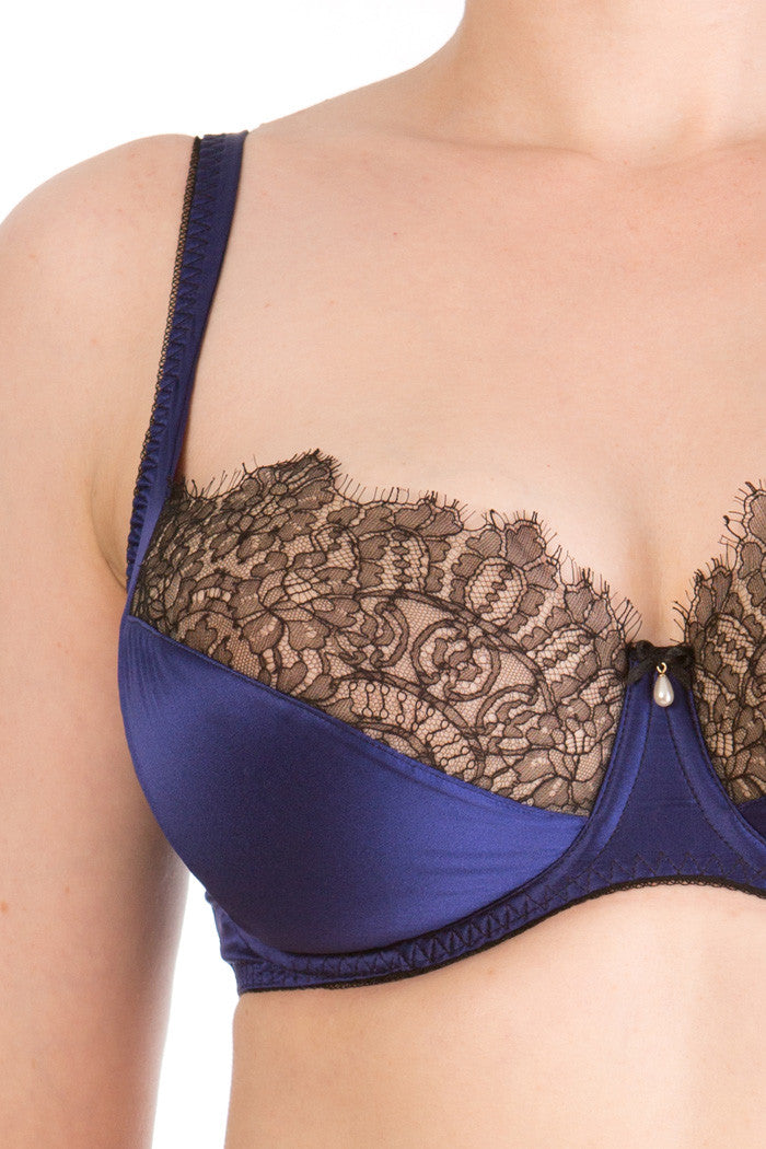 Eleanor Indigo luxury DD bra close up in blue silk with black lace