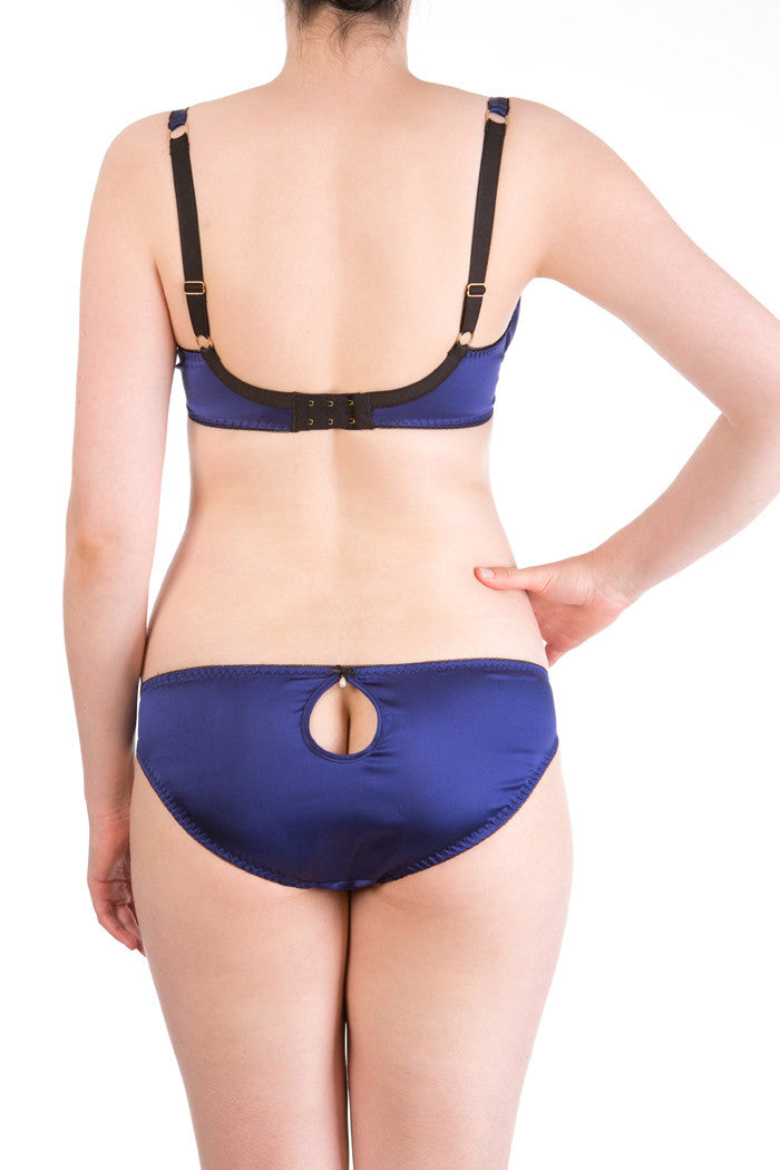 Eleanor Indigo luxury blue silk lingerie with DD - G cup bra and silk knicker