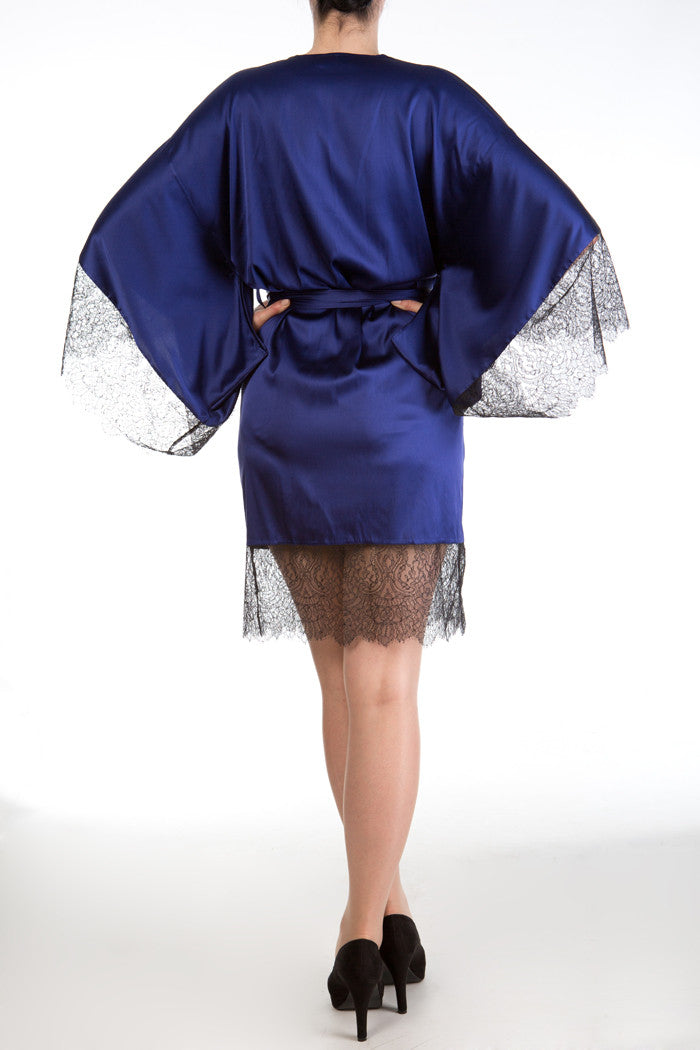 Eleanor Indigo Silk Robe