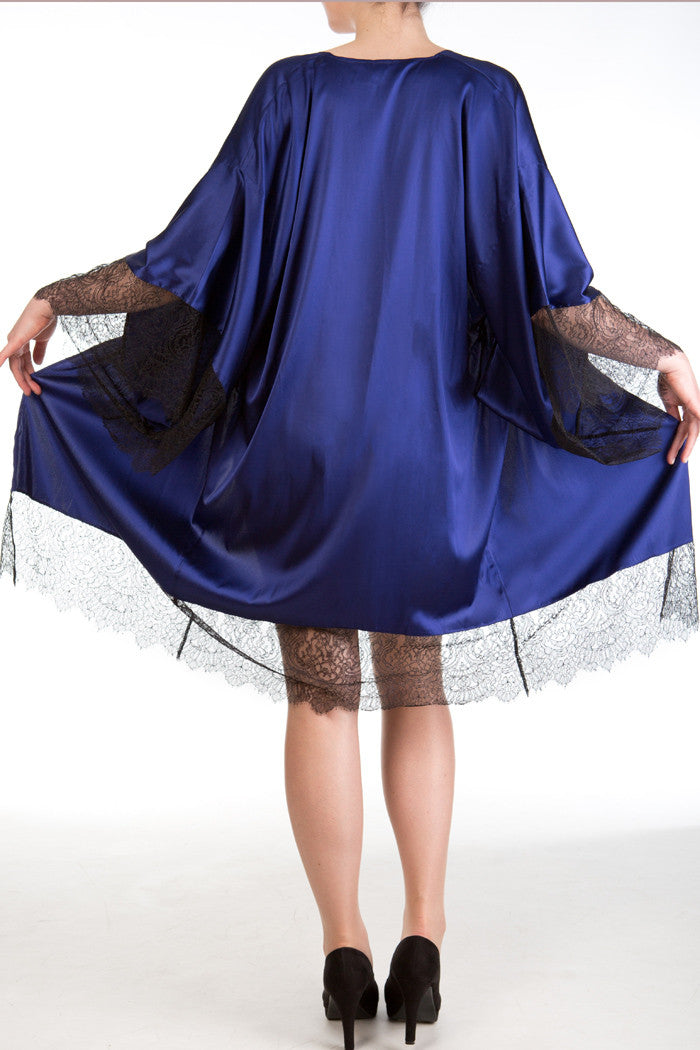 Eleanor Indigo luxury dark blue silk and lace kimono