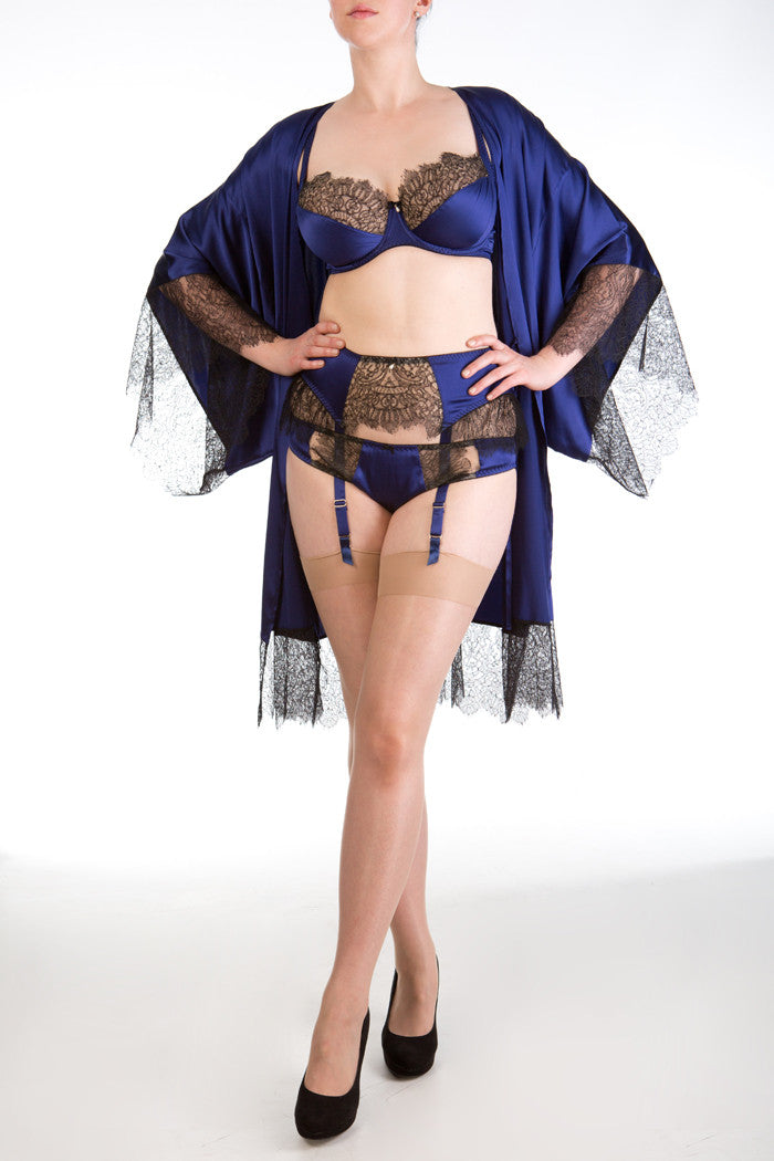 Eleanor Indigo luxury dark blue and black silk and lace robe and lingerie