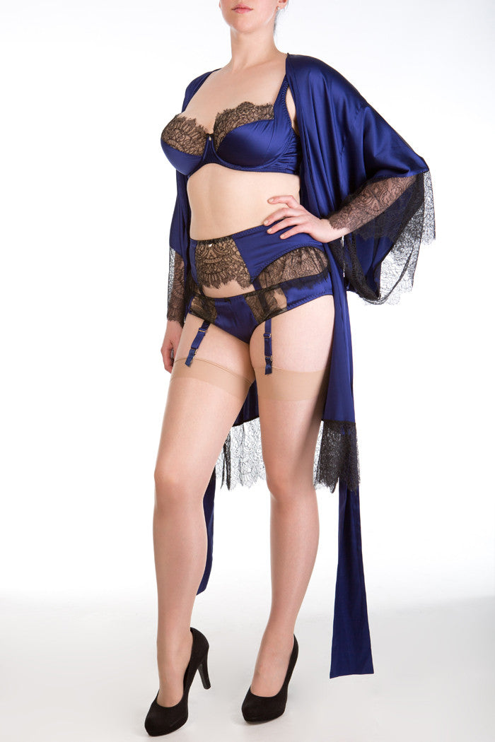 Eleanor Indigo luxurious dark blue silk and lace robe and lingerie
