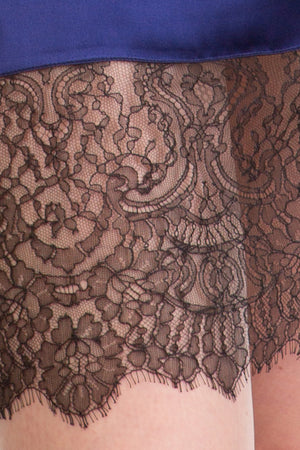 Lace detailing on Eleanor Indigo silk half slip