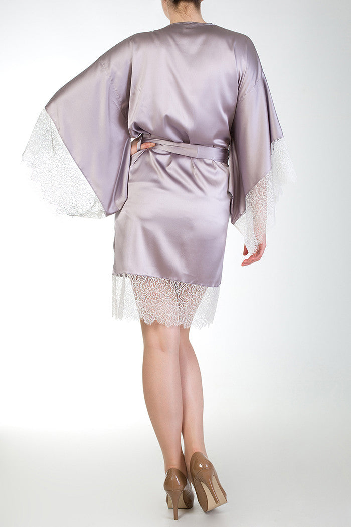 Eleanor Lilac Silk and Lace Kimono