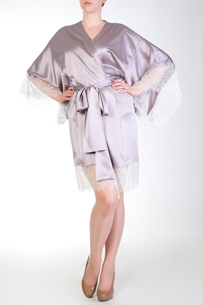Eleanor Lilac Sumptuous Silk Vintage Style Robe