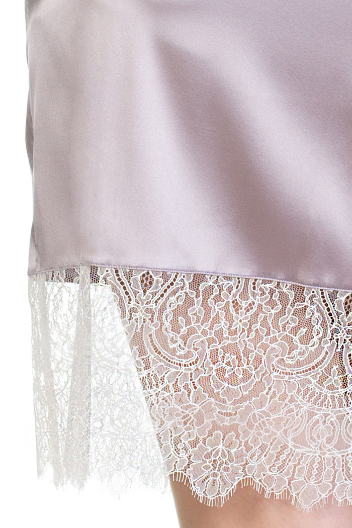 Eleanor Lilac Pure Silk and Lace Classic Kimono