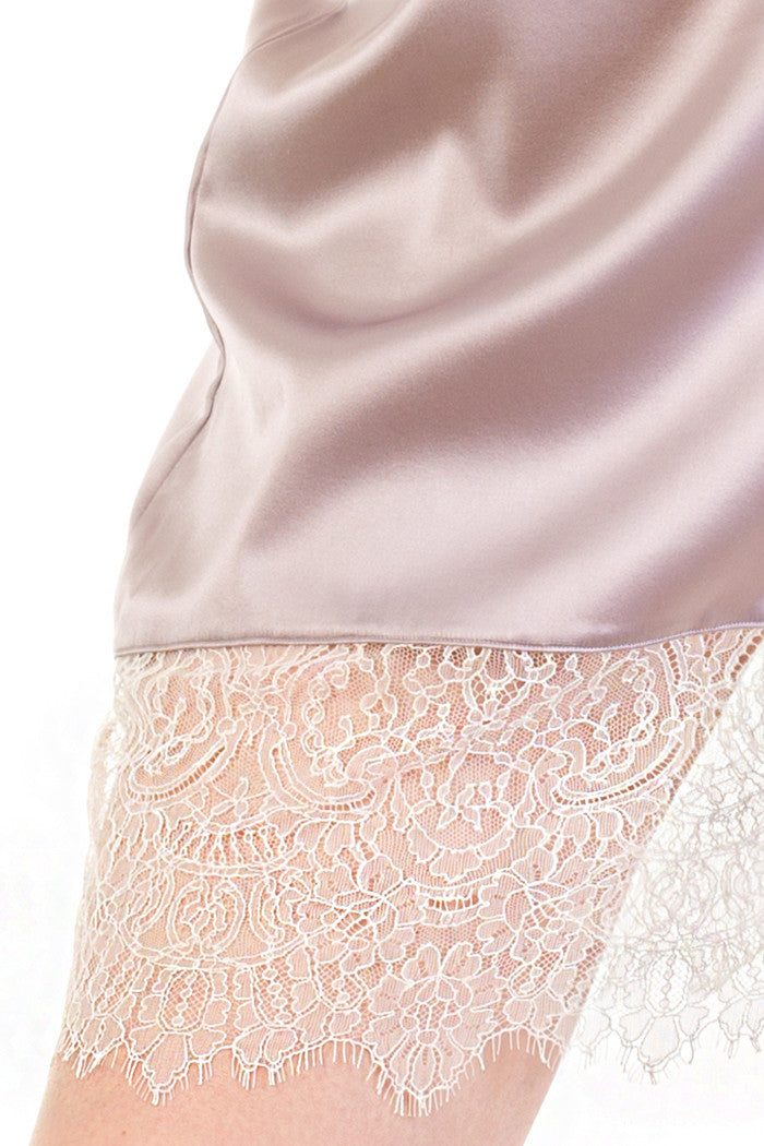 Lace detail on silk half slip in lavender silk and ivory lace