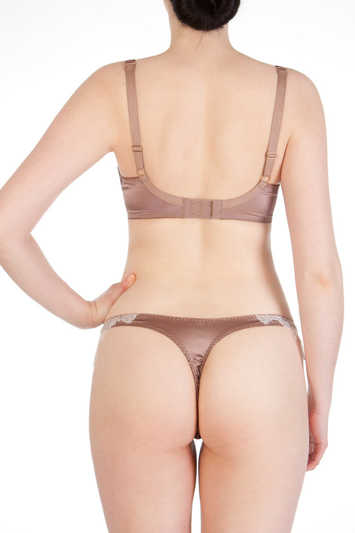 Luxury silk thong and full cup bra