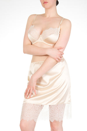 Silk half slip with lace in cream and ivory with matching silk bra