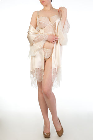 Eleanor Almond luxury silk and lace bridal kimono
