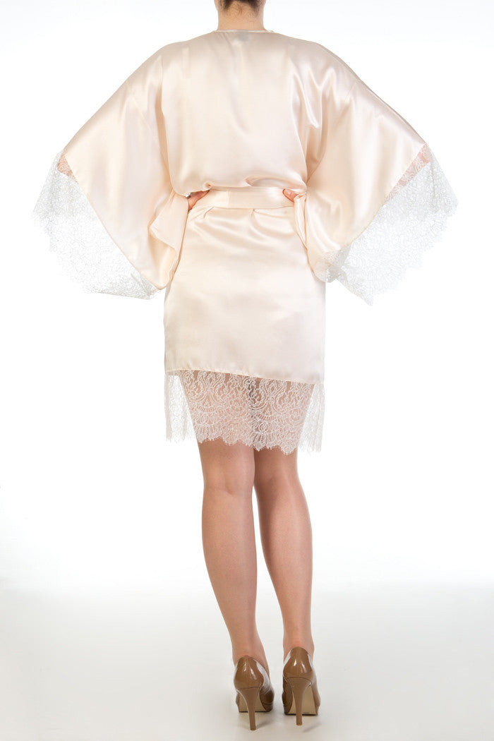 Eleanor Almond luxury cream and ivory silk and lace robe