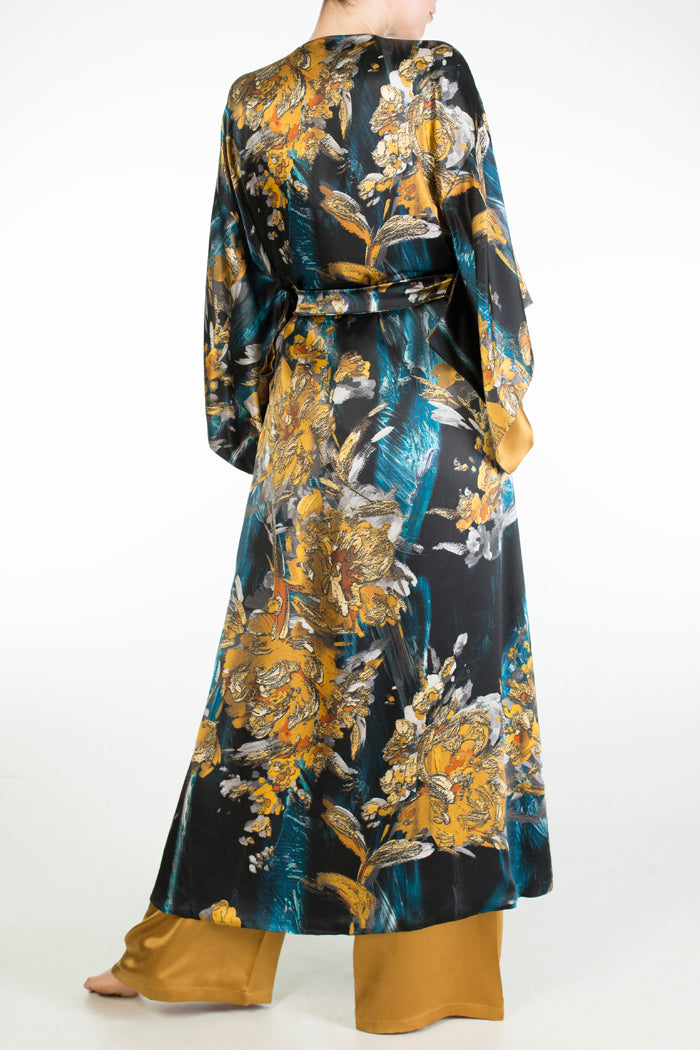 Nova luxury print silk dressing gown and gold pajamas