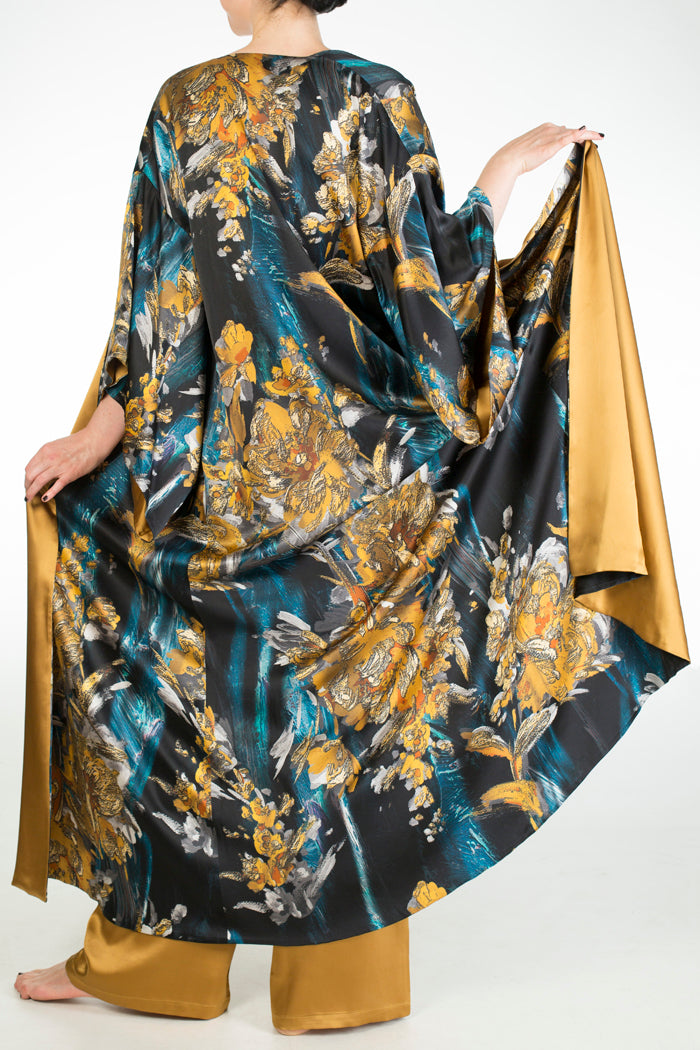 Nova blue and gold silk print long robe