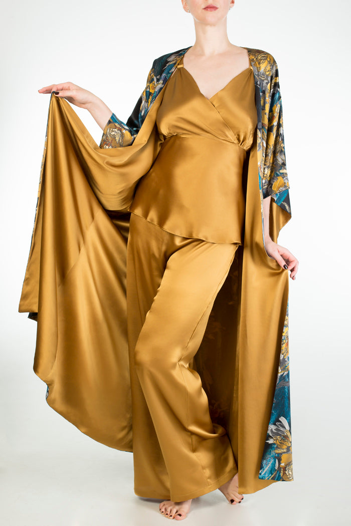 Evelyn Amber gold silk DD+ nightwear and Nova silk lined robe