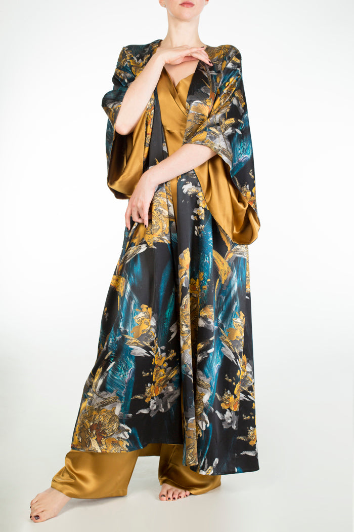Nova luxury print silk dressing gown