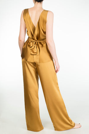 Evelyn Amber gold silk wide leg pyjama set