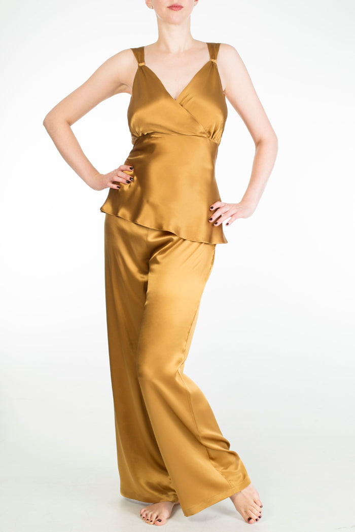 Evelyn Amber full bust nightwear set in gold silk