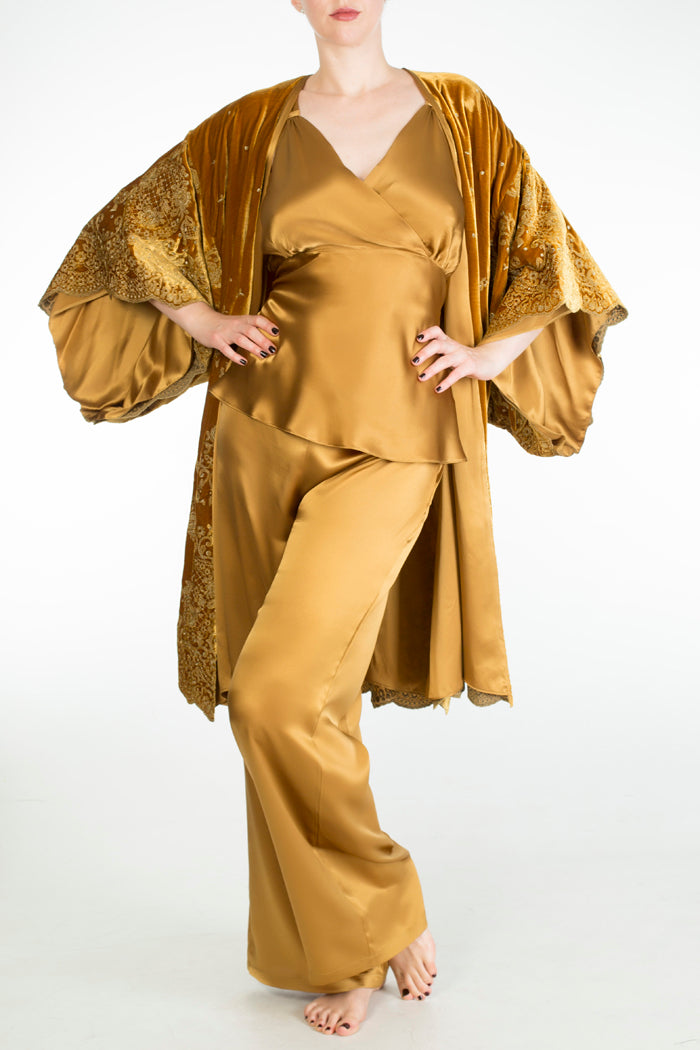 Evelyn Amber gold silk pyjamas and velvet robe