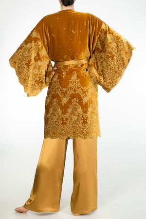 Evelyn Amber decadent gold velvet dressing gown