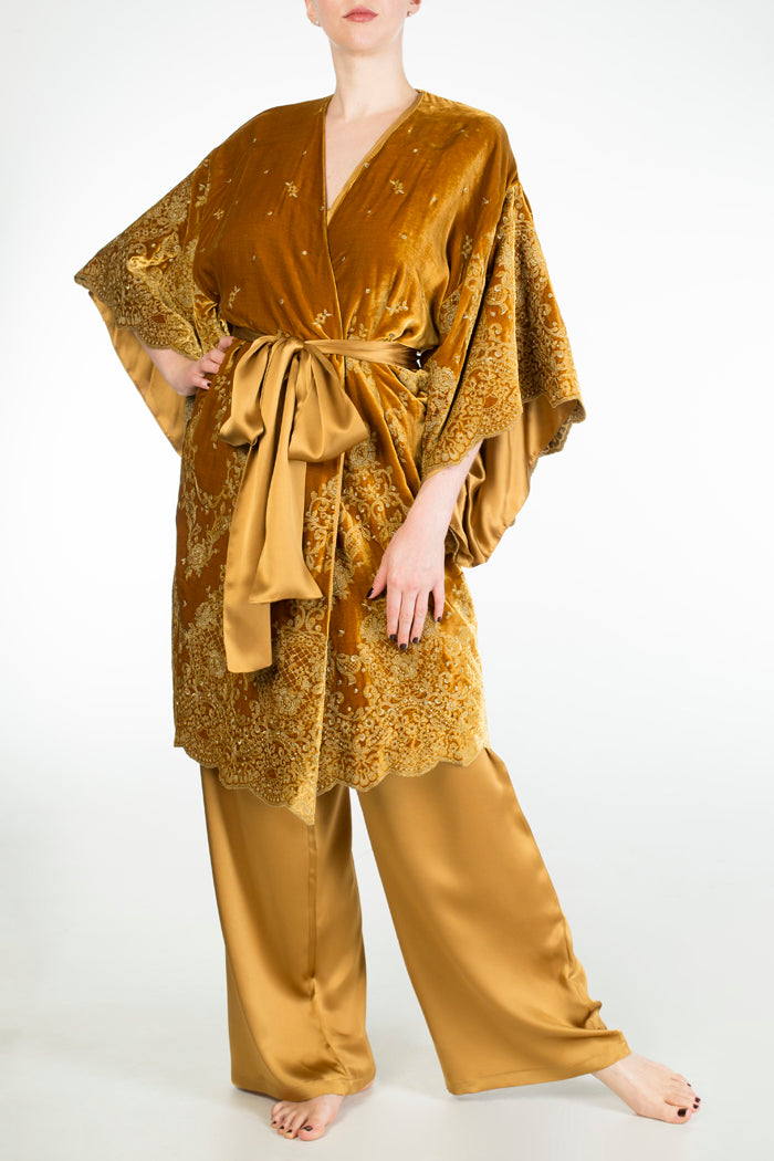 Evelyn Amber luxury gold silk pyjama and velvet robe