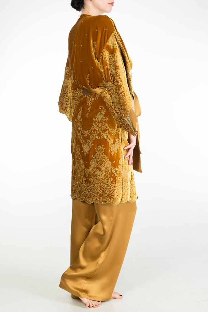 Evelyn Amber luxury gold velvet vintage style robe