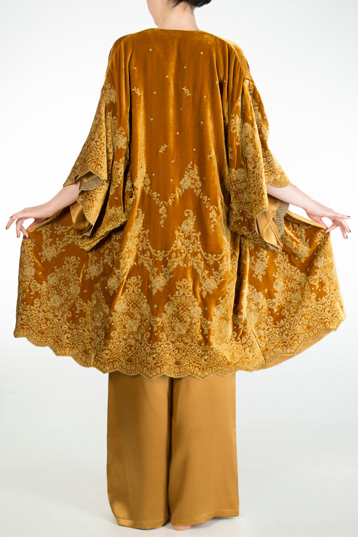 Evelyn Amber luxury gold velvet dressing gown