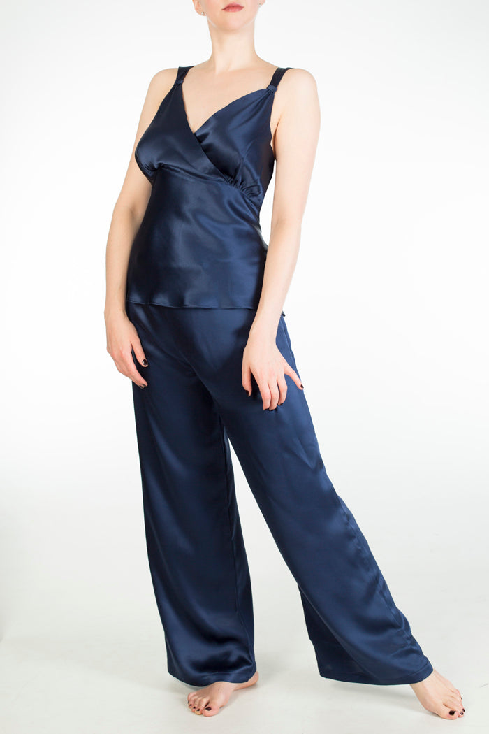 Evelyn Midnight blue silk wide leg pyjama set