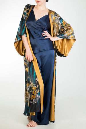 Nova blue and gold silk print robe and blue silk pyjamas