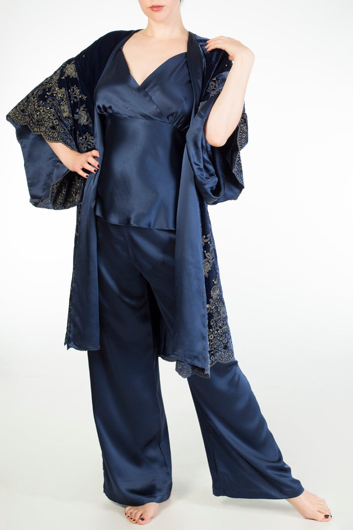 Evelyn Midnight navy blue silk pyjama set and silk lined velvet robe