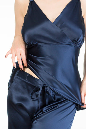 Evelyn Midnight luxury silk pyjama set in full bust and tall sizes