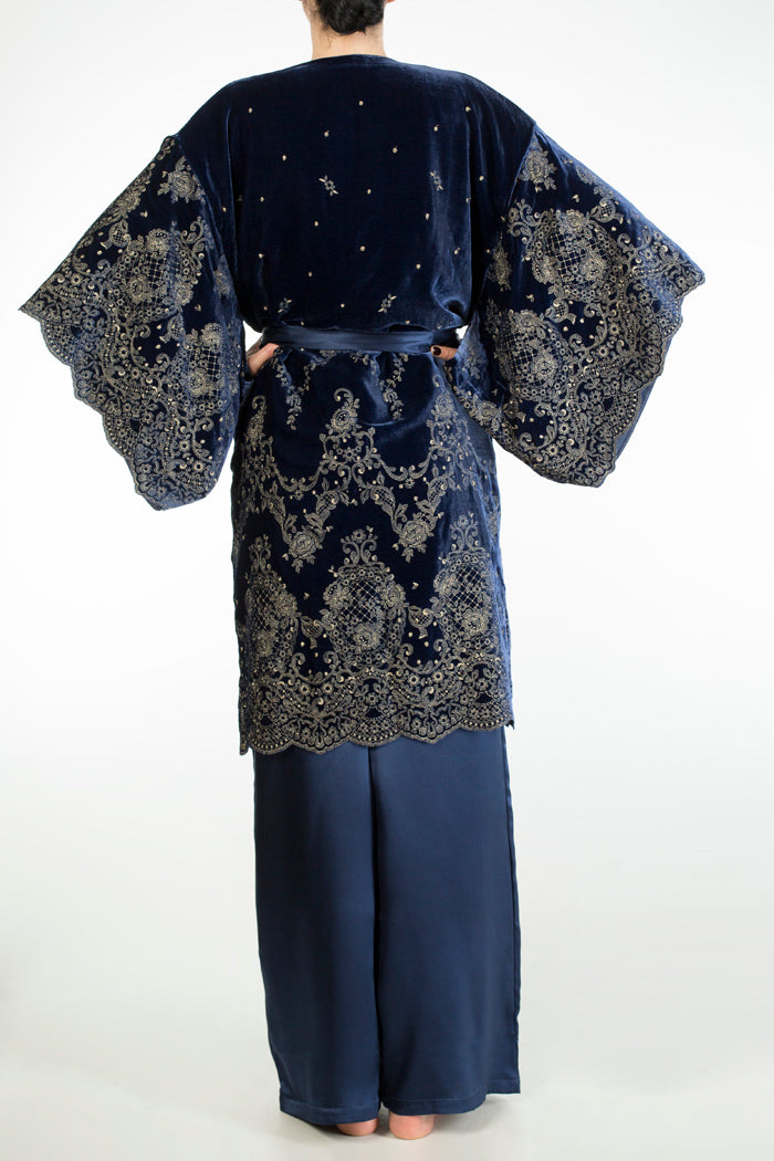 Evelyn Midnight luxury velvet evening coat